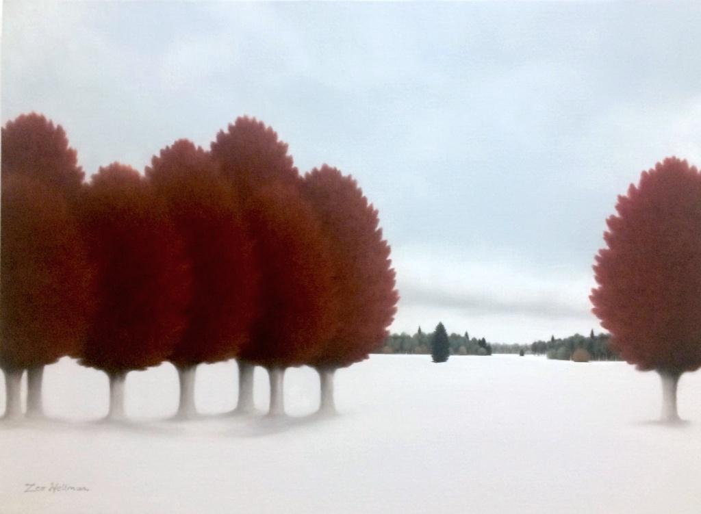 Leo Wellmar. Red trees. 54x73cm.