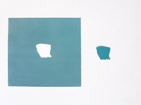Tania Blanco. Celúreo. Verdoso, 2020. Gofrado Sobre Papel Hahnemühle Y Plástico. 37, 5 X 37,5 Cm (Papel)