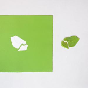 Obra de arte sobre papel gofradro. Pieza única de color verde hecha con pigmetos. Le acompaña una pieza de plásatico que es el molde del gofrado