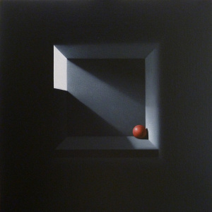 Cuadro de planos negros con luz que ilumina una bola roja