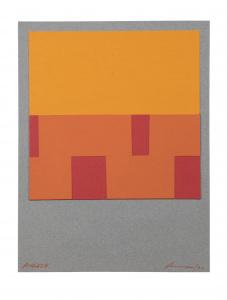 Amador. Collage amarillo y salmón. 30 x 22 cm